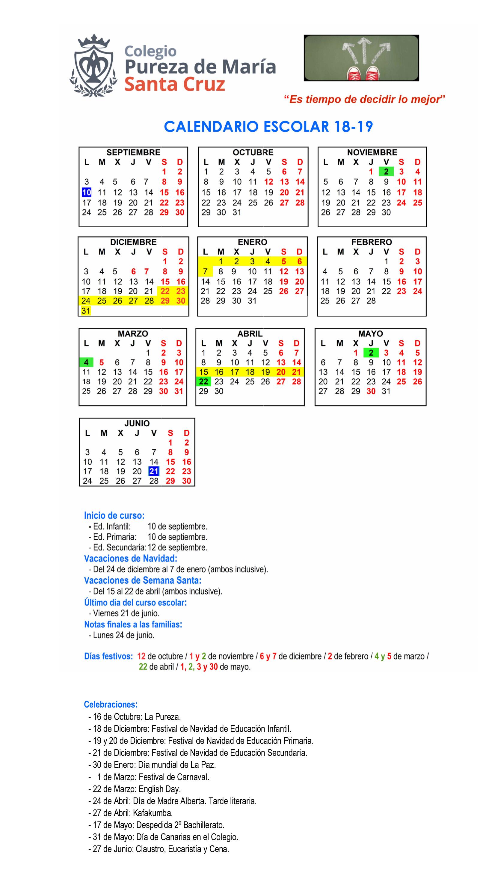 Calendario Escolar 1819.Pureza De Maria Santa Cruz Calendario 18 19